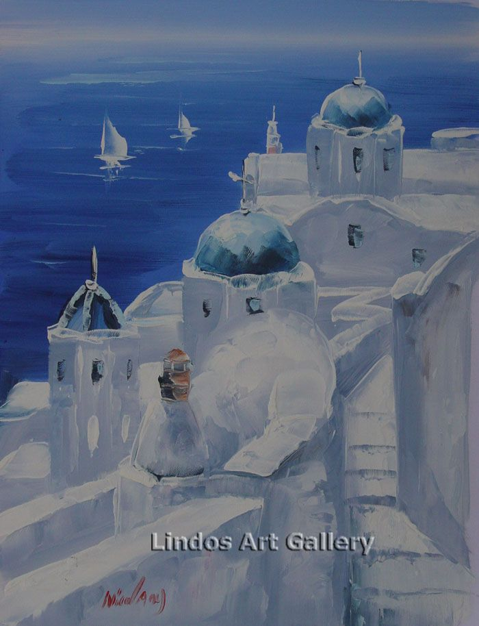 Oil Paintings : Santorini Blue Sea and Churches Painting