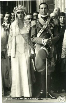 Their Royal Highnesses Crown Prince Umberto and Crown Princess Marie José of Italy. Married:  January 8, 1930