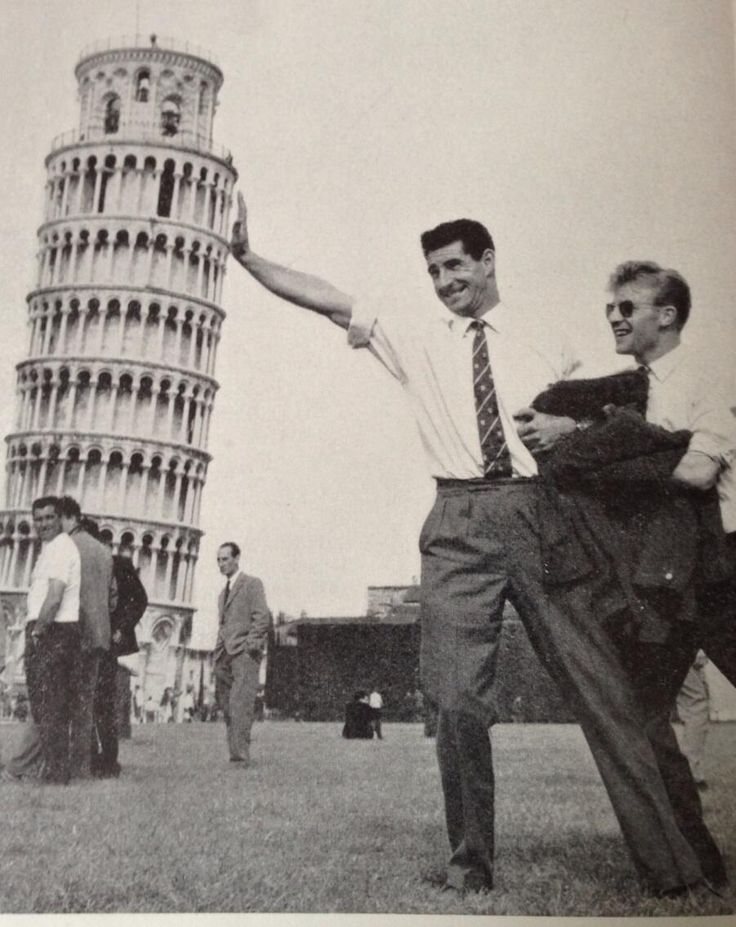 Harold Davis (Rangers) propping up the Leaning Tower of Pisa with help from Davie Wilson during a trip to play Fiorentina