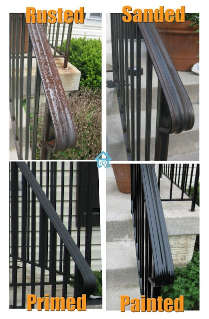 Rust Removal and Painting Metal Railing NEED to do out back.