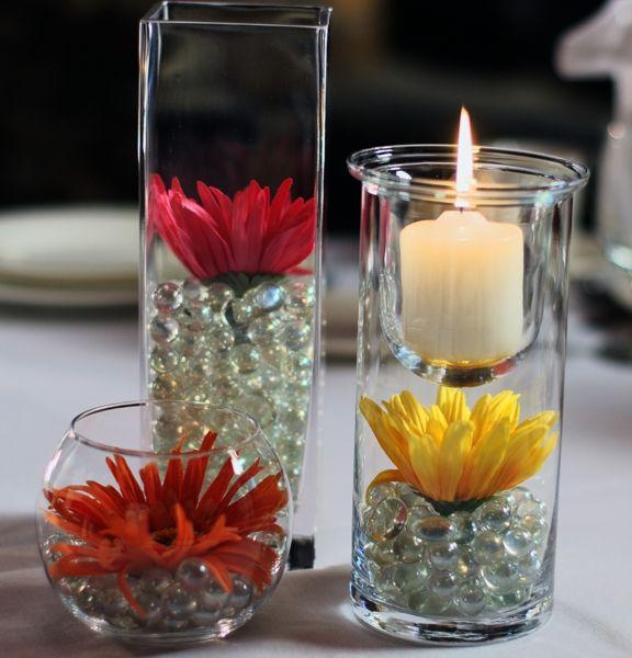 Gerber Daisy Wedding Reception Centerpieces | Permanent Botanical Centerpieces | Decorations | Photos :: Goegleins ...