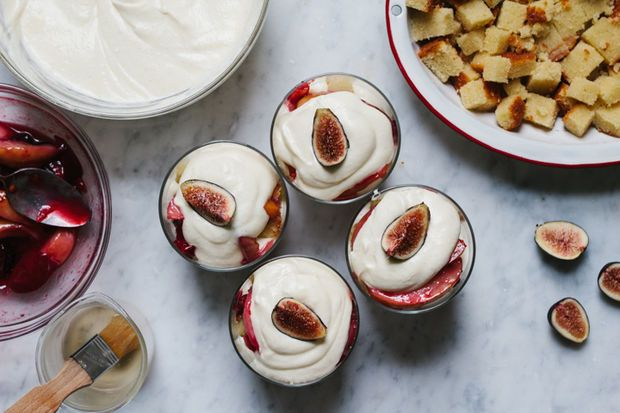 Late Summer Trifle on Food52  roasted late summer treats like plums and figs until they were caramelized and juicy, and turned them into an elegant trifle: layered with squares of rich almond pound cake, plus pastry cream lightened with a bit of crème fraîche and a healthy dose of whipped cream.
