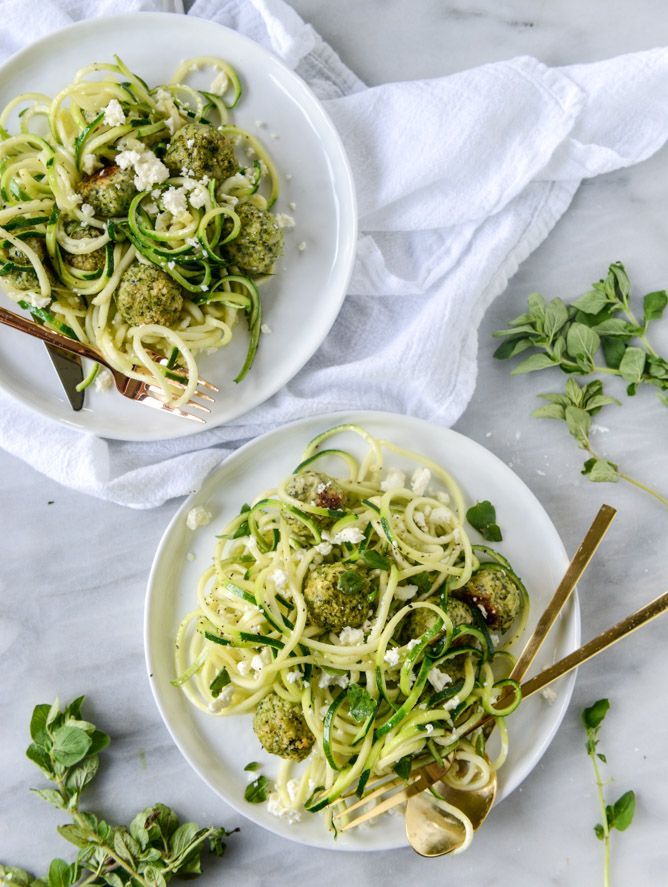 Zoodles with chicken feta and spinach meatballs recipe for Zucchini noodles and meatballs recipe
