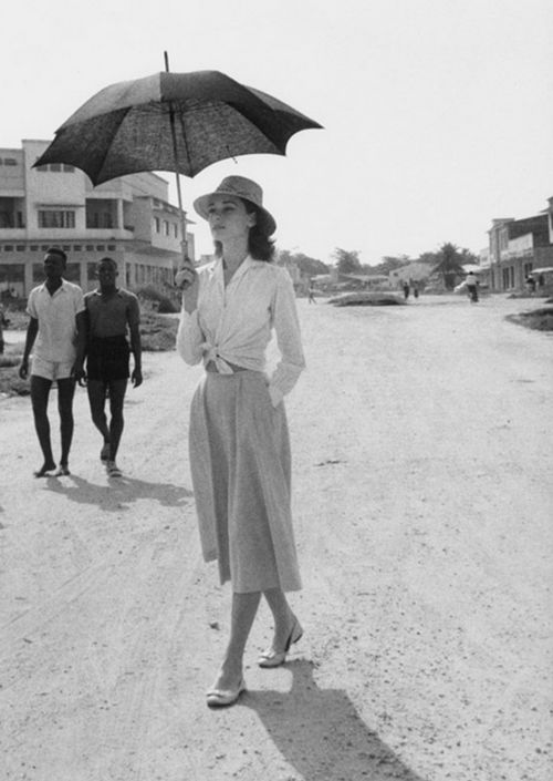Audrey Hepburn in the Congo while filming of The Nun's Story (1959). Photo: Leo Fuchs.