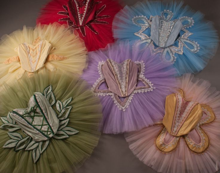 this is a set of tutus made for the ballet Sleeping Beauty. These are the fairies. Sewballet.com