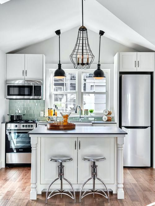 Small Open Kitchen With Two Seat Island, Glazed Tile And
