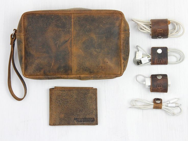 The Man Who Has Everything Gift Set. Possibly the best fathers day set from Scaramanga's collection. #leather #giftset #wallet #washbag #cabletidy #organise #style #scaramanga