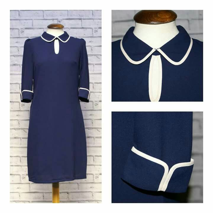 Cute as a Button! These Little Shifts with Peter Pan Collar and Contrasting Edges. Simple & Sweet! To take a look at www.modclothin.co.uk