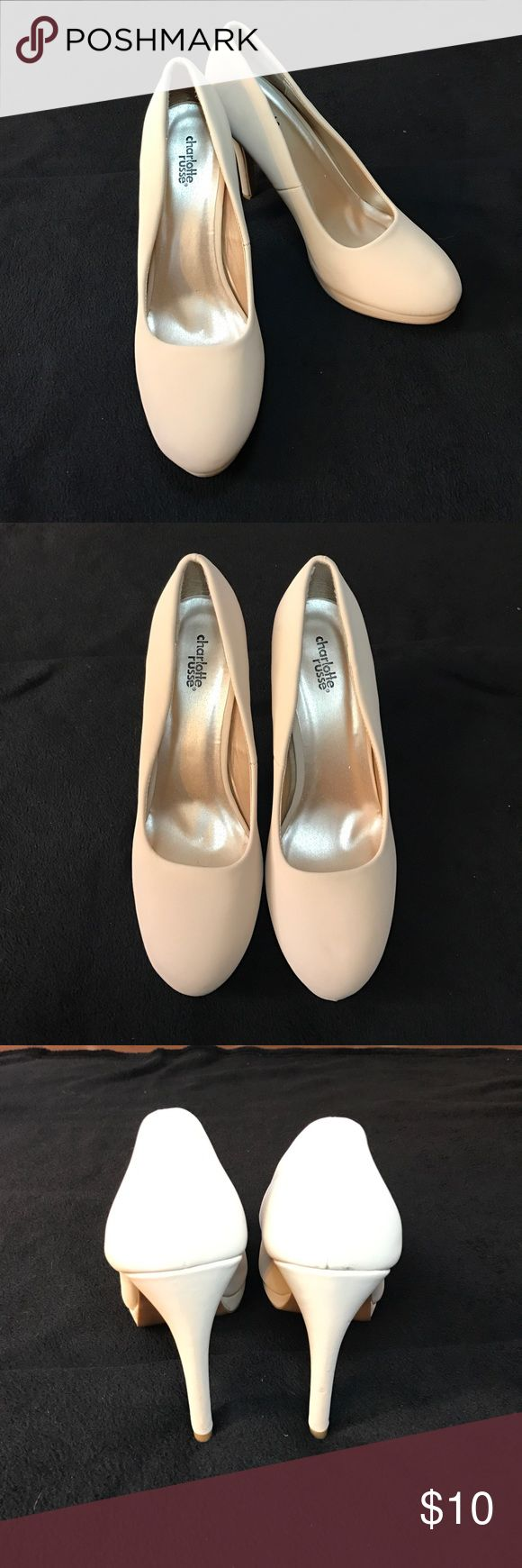 Charlotte Russe Cream High Heels Worn once, gently used, Size 10 Cream Colored Charlotte Russe High Heels. Slight wear and tear as pictured. Charlotte Russe Shoes Heels