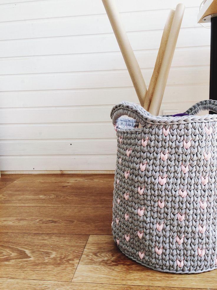 Large grey crochet basket/Storage Basket/Scandinavian Basket/Storage knitting basket /Nursery basket/Nursery Decor/Cotton basket by MyCozyStudio on Etsy