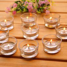 Kleine glas Kandelaars Clear Votives Thee Verlichting Bruiloft Middelpunt Vlakte Eenvoudige Ronde Kaars Theelichthouder 50…