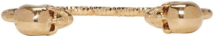 Alexander McQueen Gold Twin Skull Bracelet