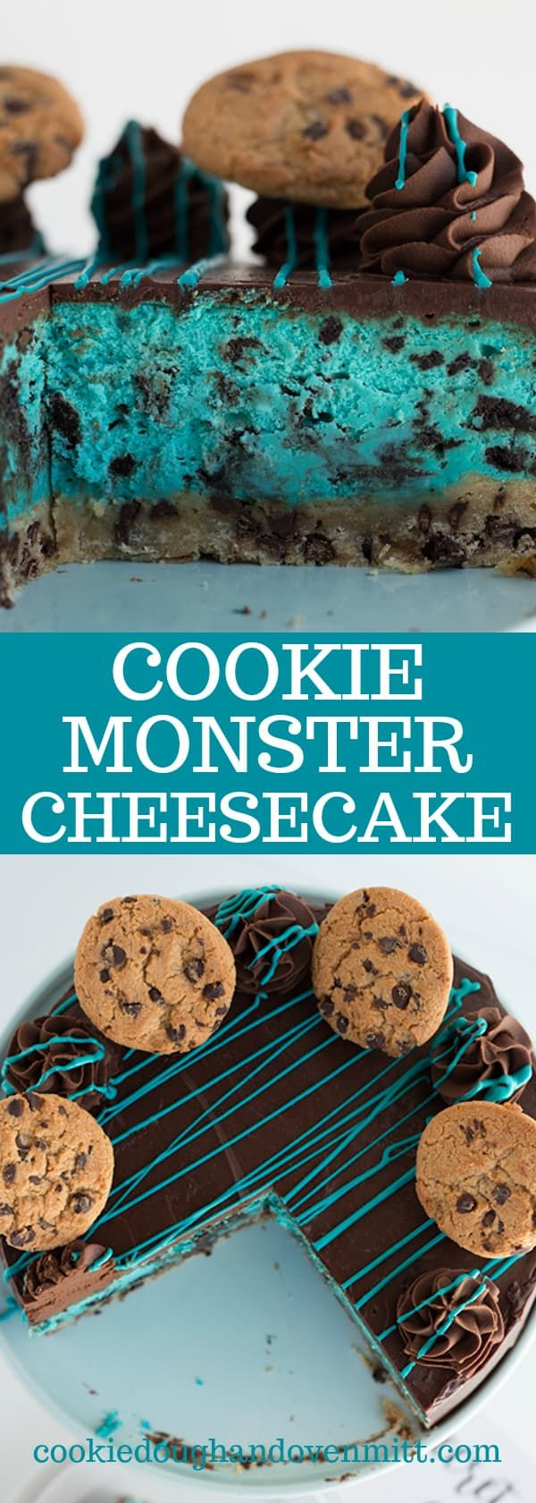 Cookie Monster Cheesecake - What's cuter than a cheesecake inspired by the cookie monster? There's a chocolate chip shortbread crust, a blue cheesecake filled with bits of oreo cookies and topped with ganache and chocolate chop cookies! via @mmmirnanda