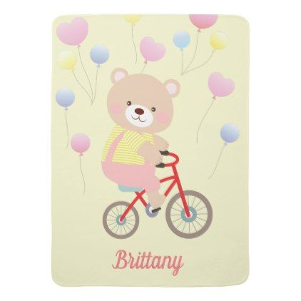 Girly Teddy Bear on Bicycle Baby Blanket - baby gifts child new born gift idea diy cyo special unique design