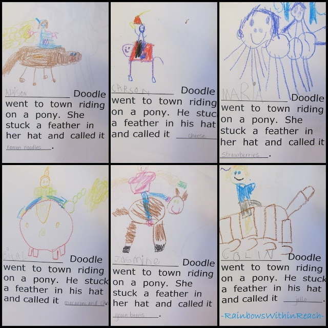 Kindergarten class writing book, Yankee Doodle nursery rhyme, kindergarten drawings