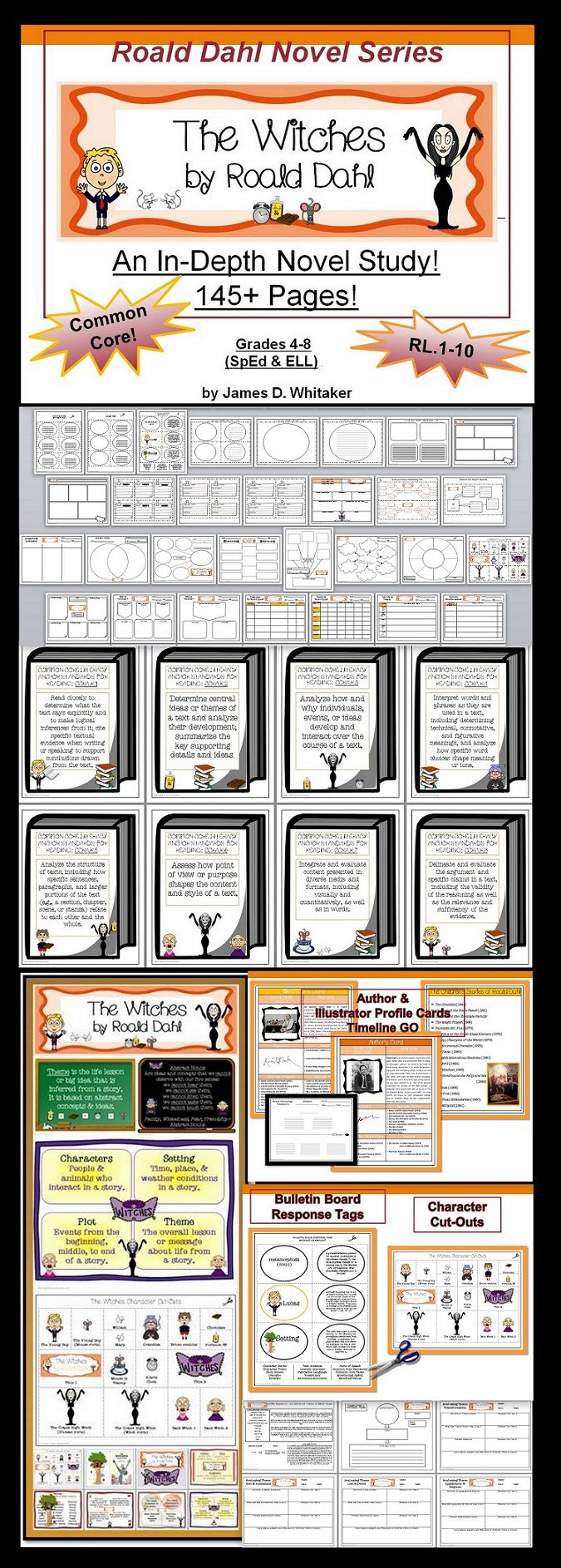 The Witches by Road Dahl Author Study -- 145+ Common Core Aligned Pages of Materials.