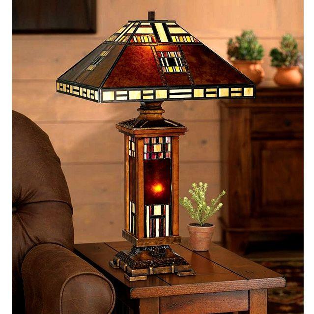 Mission Craftsman Mica Tiffany Table Lamp