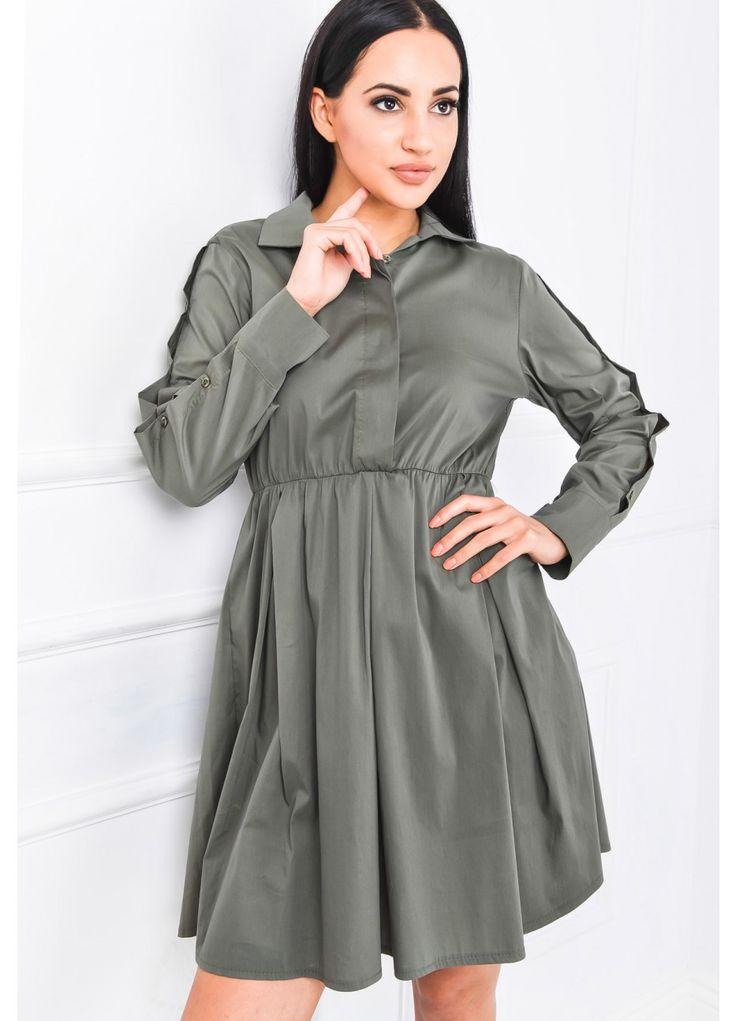 Koszulowa sukienka ze ściągaczem