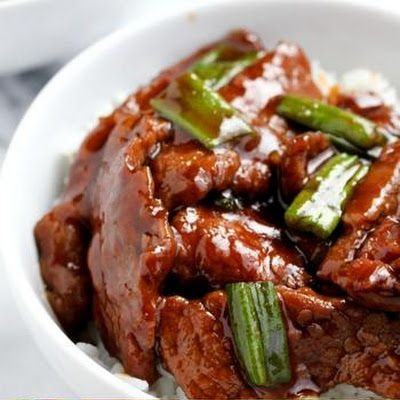 Mongolian Beef...I cut the amount of brown sugar.  Added 2 more cups of beef broth, celery, green peppers, mushrooms, and water chestnuts.  Served over rice.