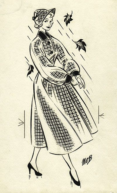Margaret Oliver Brown fashion illustration (archive reference: DC/51/2/17).