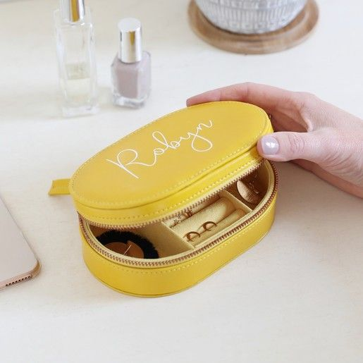 Personalised Oval Travel Jewellery Box In Yellow In 2019 Gifty