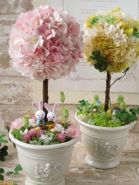 【 rinarina614様専用ページ 】 ミモザとあじさいのトピアリー(巣ごもり)、春のピンクトピアリー (お雛様)