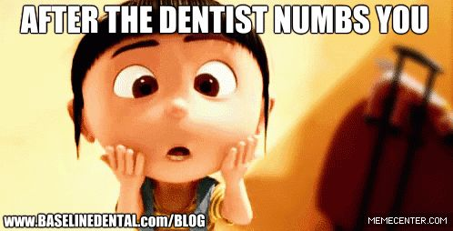 We have all been there. www.baselinedental.com #numb #despicable me #dentist #dental #funny #gif