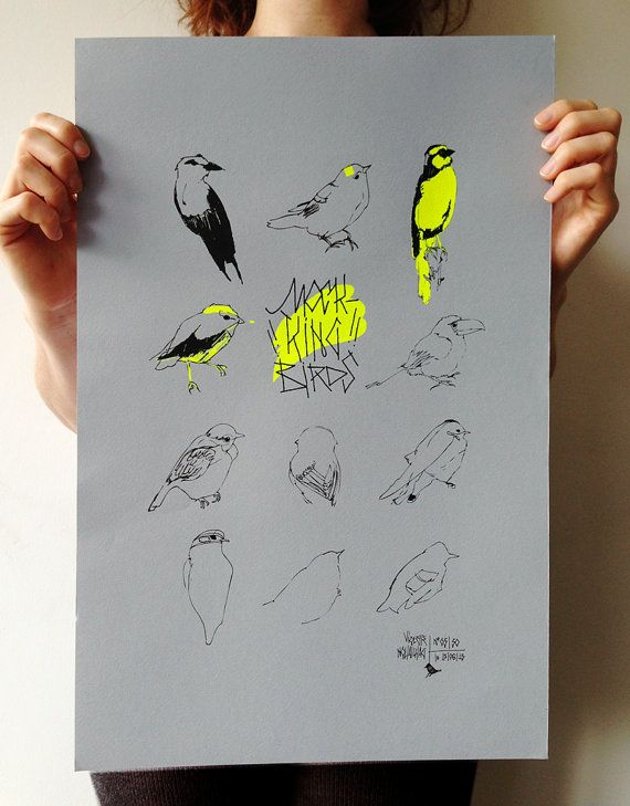 MOCKING BIRDS screen printing : yellow neon on blue/grey paper, limited edition 30 copies (each copy is signed and numbered) via Etsy