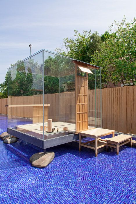 Traditional Japanese tea ceremonies were staged inside a glass tea house designed by Japanese artist Hiroshi Sugimoto at the Venice Biennale in 2014