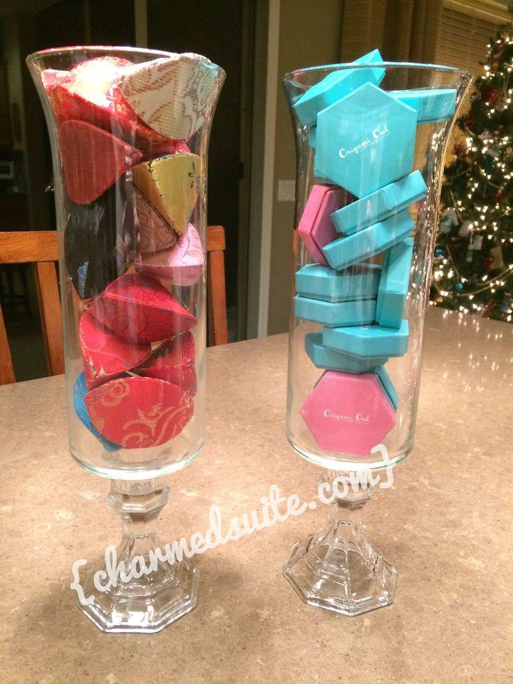 Dollar store vases for #OrigamiOwl display table! Follow BRENDA STER on FB for more! http://www.facebook.com/charmedsuite
