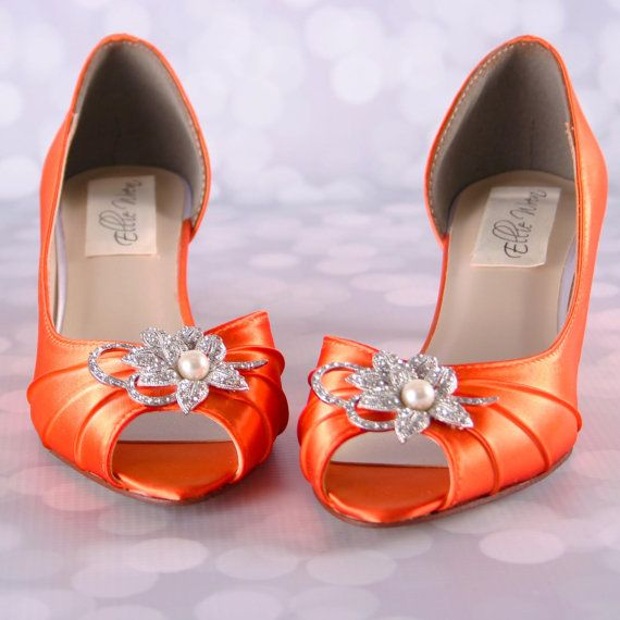 Orange Wedding Shoes Kitten Heel Wedding by EllieWrenWeddingShoe