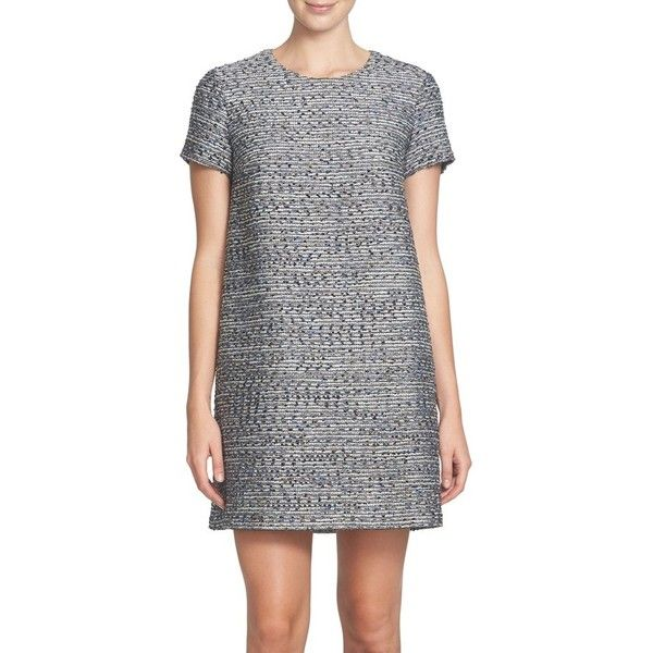 Women's Cece Kayte Metallic Tweed Shift Dress ($89) ❤ liked on Polyvore featuring dresses, petite, rich black, metallic dress, structured shift dress, petite cocktail dress, shift dress and seamless dress