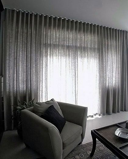 FLOOR TO CEILING CURTAINS (SOFT. GREY. ALLOW SOME LIGHT)