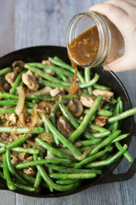 Green bean stir fry with chicken and sesame seeds