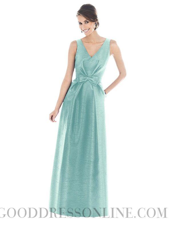 Vintage A-line V-neck Sleeveless Taffeta Bridesmaid Dresses