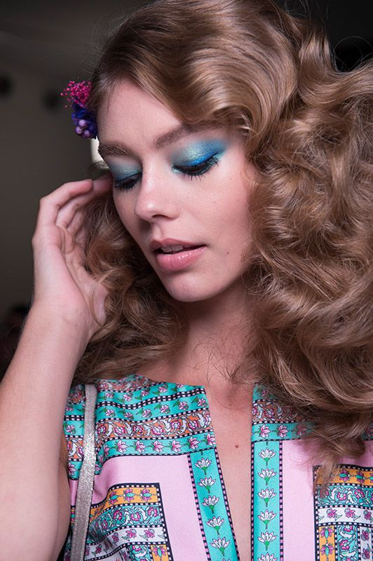 DVF SS16 eye makeup pretty girls pretty curls flowers in hair