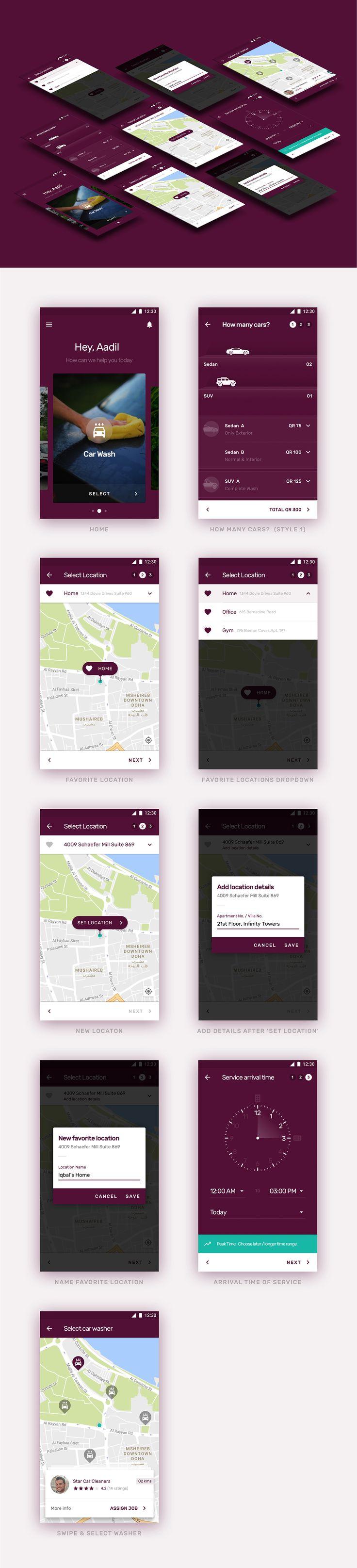 QZER - Car wash app on Behance