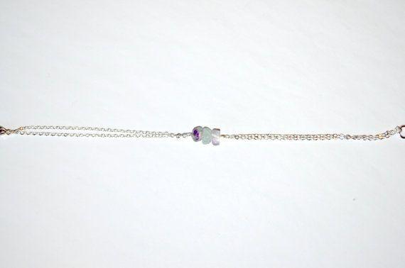 Fluorite Bracelet Dainty Silver/Gold Chain by IndigoLizard on Etsy