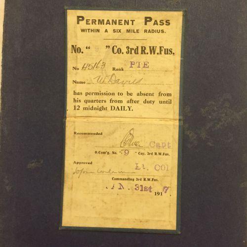 3 RWF Permanent Pass 1917.