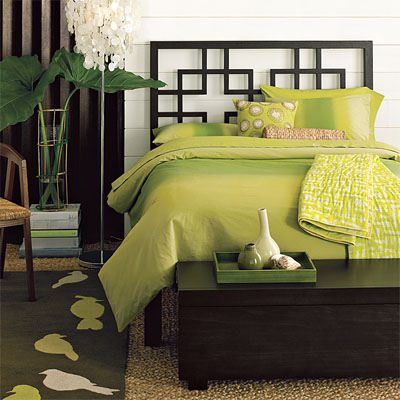 Green Bedroom Decoration- like the headboard
