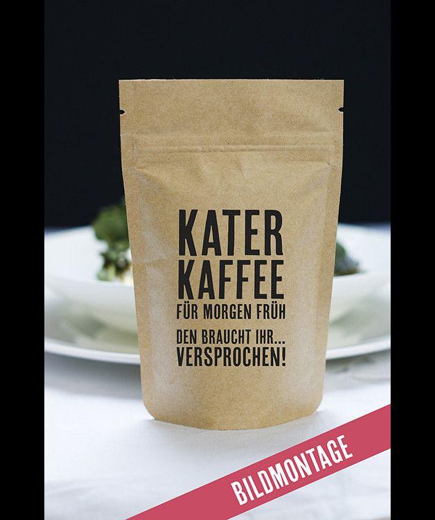50 Gramm richtig guter, fair gehandelter Kaffee. Eine außergewöhnliche Idee für Hochzeiten, Messen und Co. Als  **Gastgeschenk** oder **Give away** gebt ihr euren Gästen direkt das Katermittel für...