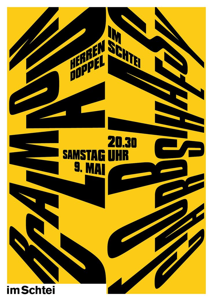 "12 typographic posters for the concerts in 2015 at ""im Schtei"" in Sempach/Switzerland"