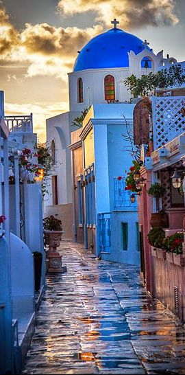 Santorini Island Street View ~ Greece