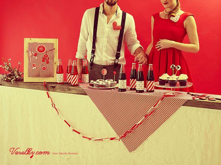 Pin-up wedding, wedding,bride, groom woman, pin up, pin-up, veselky.com, veselky, pin, red, style, dress, hairstyle, 50s, 1950, modern, unusual , couple, photo, image, hat, studio, heart, david severin, jane bond special, love fashion, photo severin, retro, diy, czech republic, simplicity, patern, man, braces, design, czech design, food, decoration, cupcake, wedding table