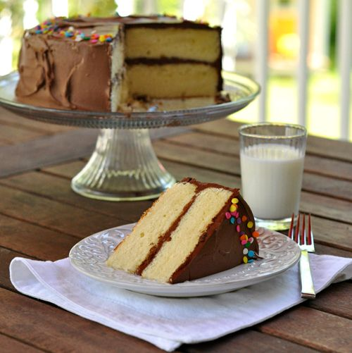 Yellow Butter Cake with Chocolate Frosting ~ The Way to His Heart