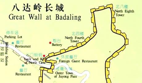 Badaling Great Wall, Great Wall Map