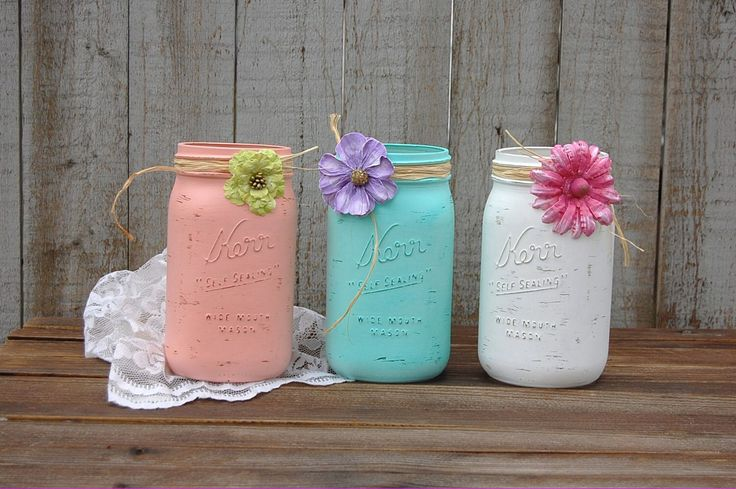 Shabby chic homes, shabby chic baby shower, mason jar projects, mason jar. Mason Jar Projects, Mason Jar Crafts, Mason Jar Centerpieces, Wedding Centerpieces, Crafts For Teens, Diy And Crafts, Color Menta, Diy Home Decor Rustic, Shabby Chic Baby Shower