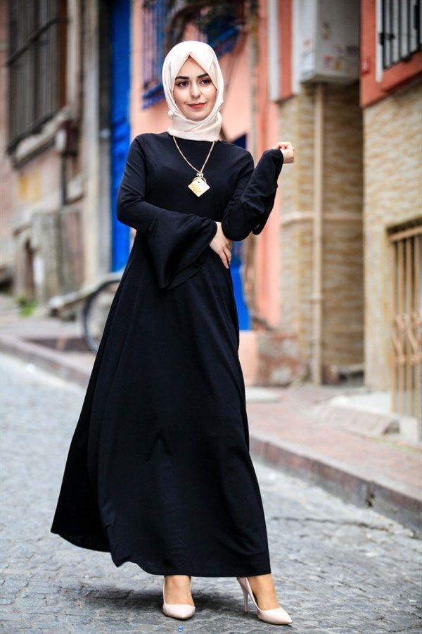 Kollari Volanli Uzun Tesettur Elbise 3020 Siyah 103706 Elbise Siyah Giyim