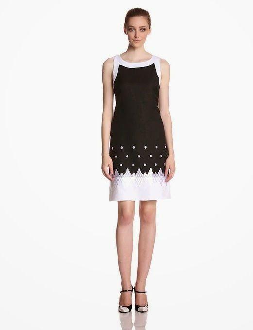 white shift dress: Black And White Shift Dress