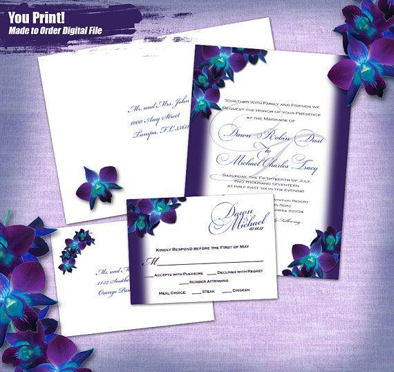 Blue Orchid Printed Invitation Set 20pc finished set: Invites